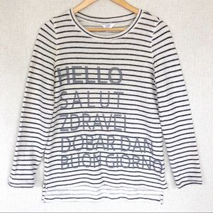 """Crown & Ivy """"Hello"""" Multi-Languages striped top"""